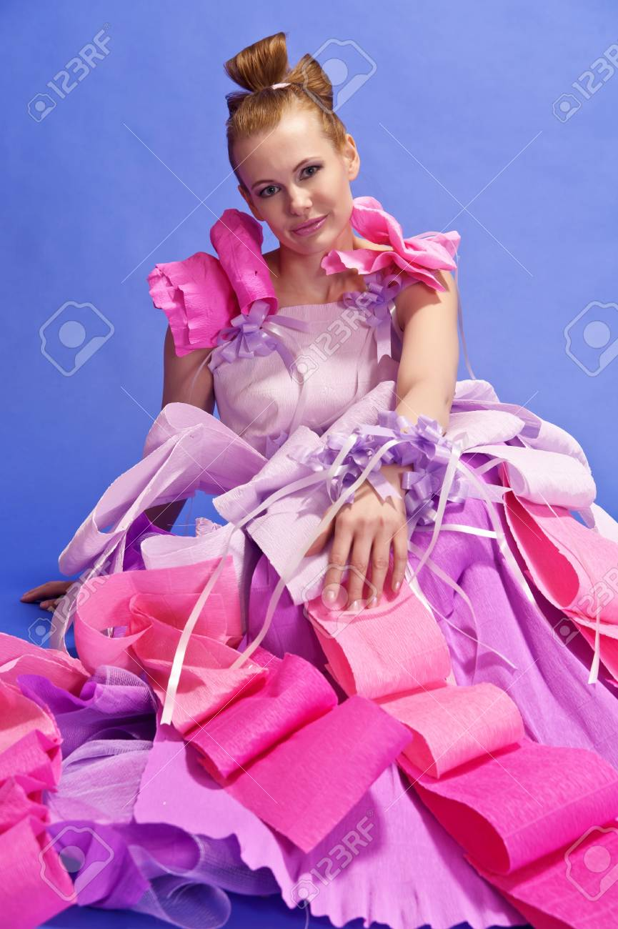 Young Woman  like a doll in pink dress Stock Photo - 13705253