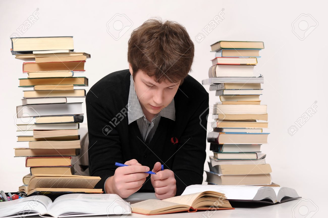 The student with a considerable quantity of books Stock Photo - 10243959