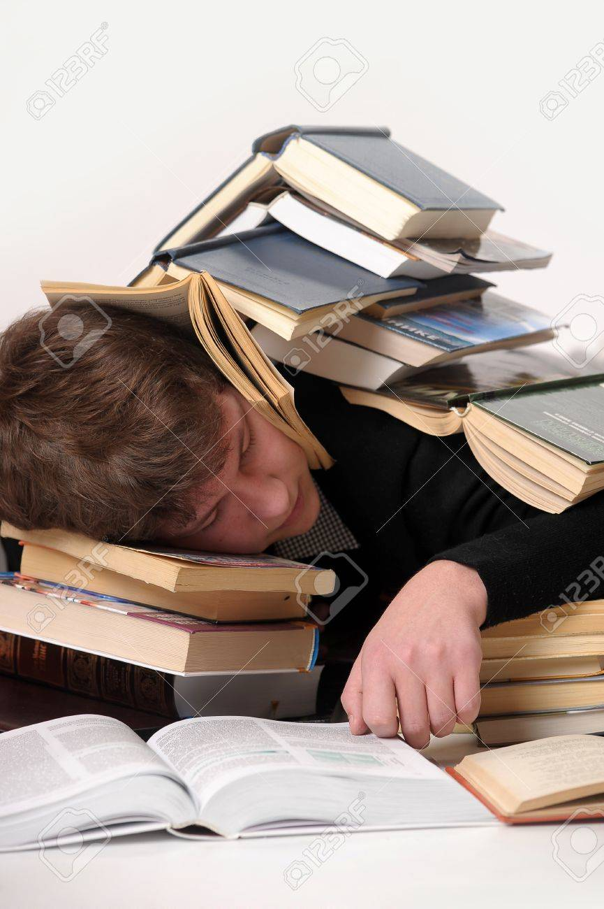 student sleeping among the books Stock Photo - 10095352