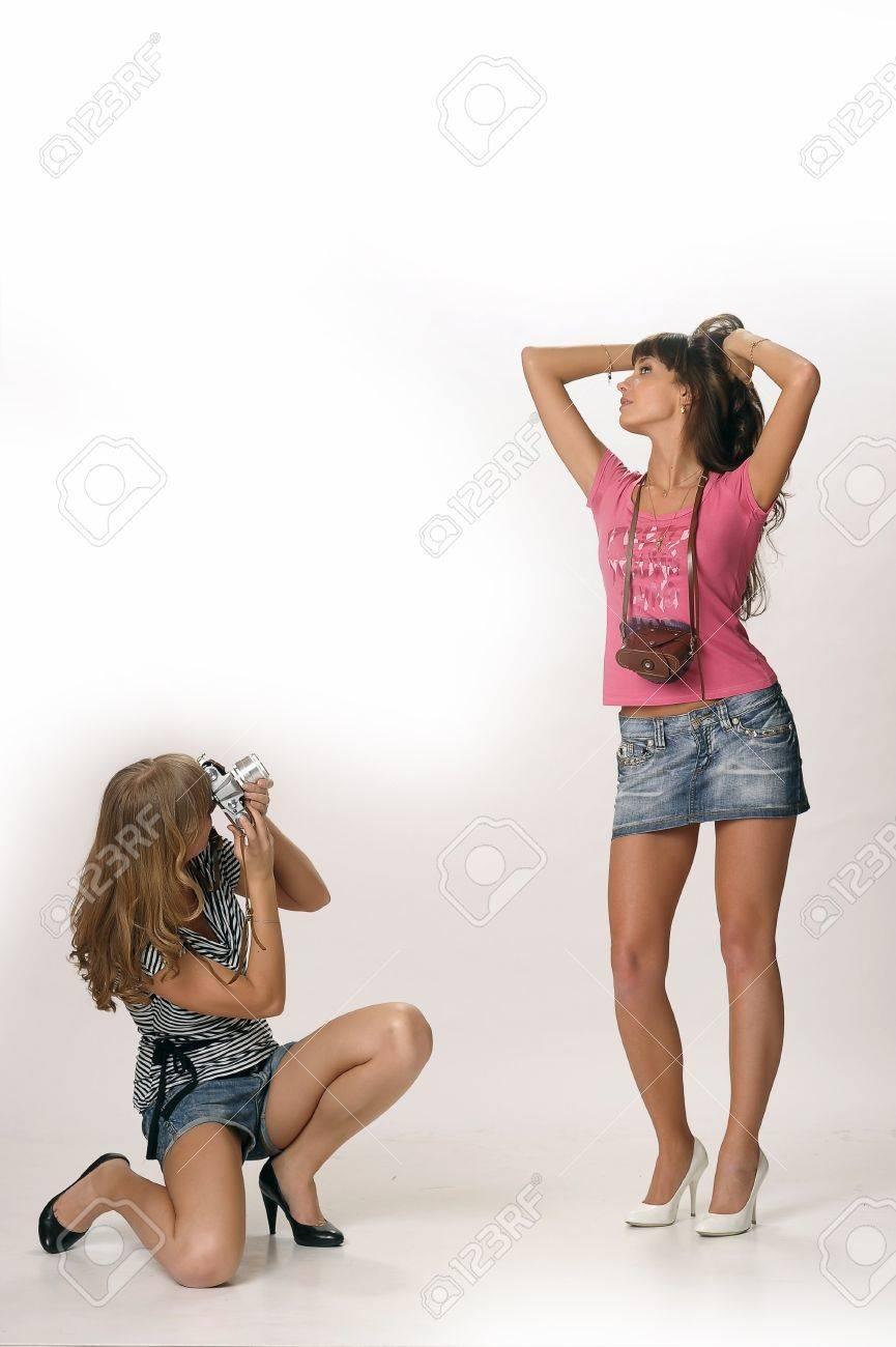 girls with retro cameras Stock Photo - 10077240