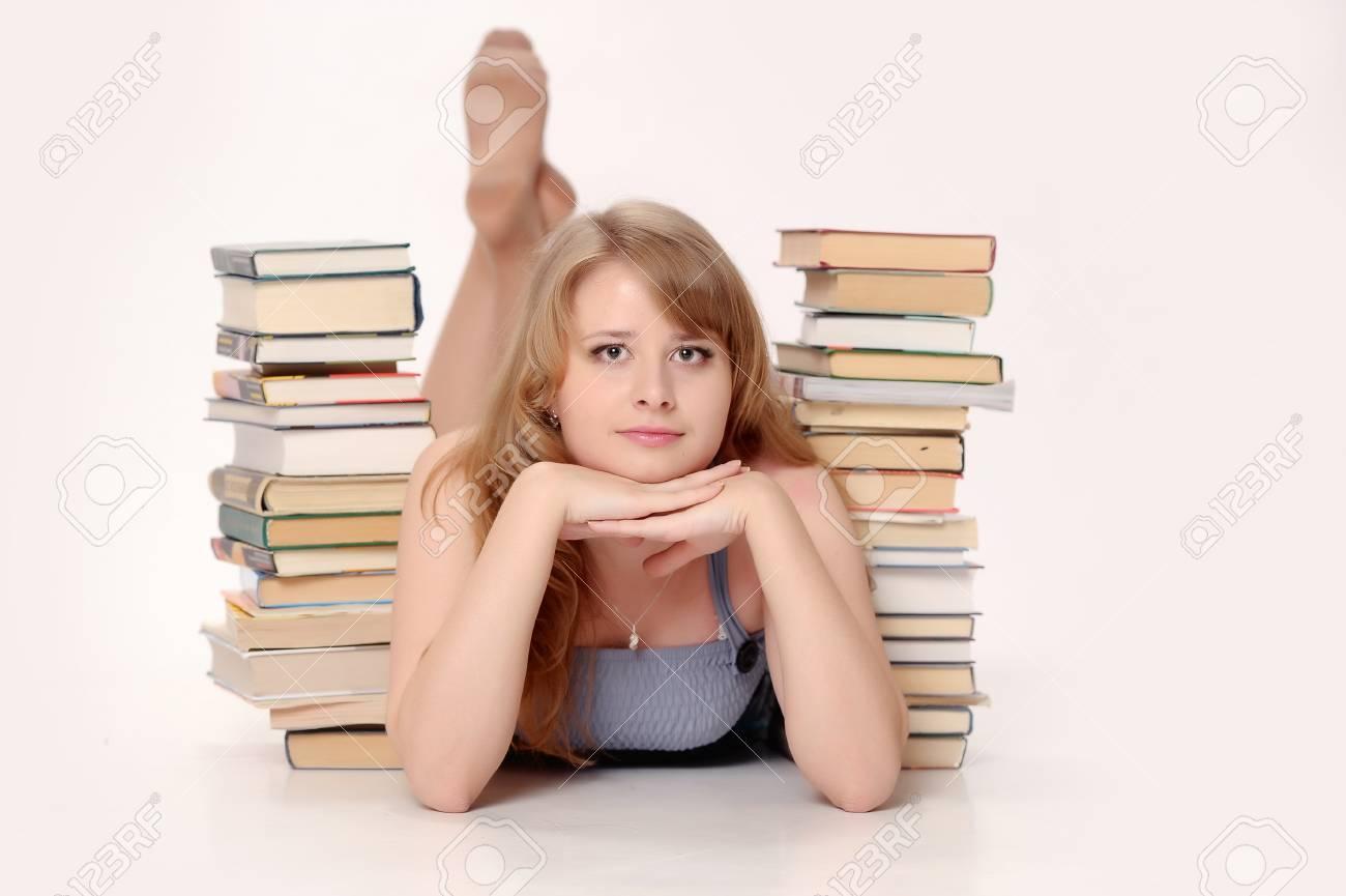 Beautiful woman with books Stock Photo - 9645350