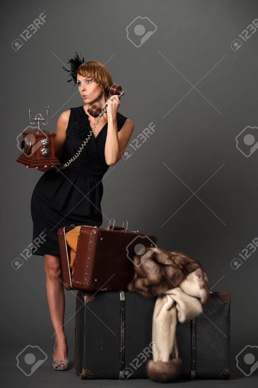 woman with the phone. Retro Stock Photo - 10908843