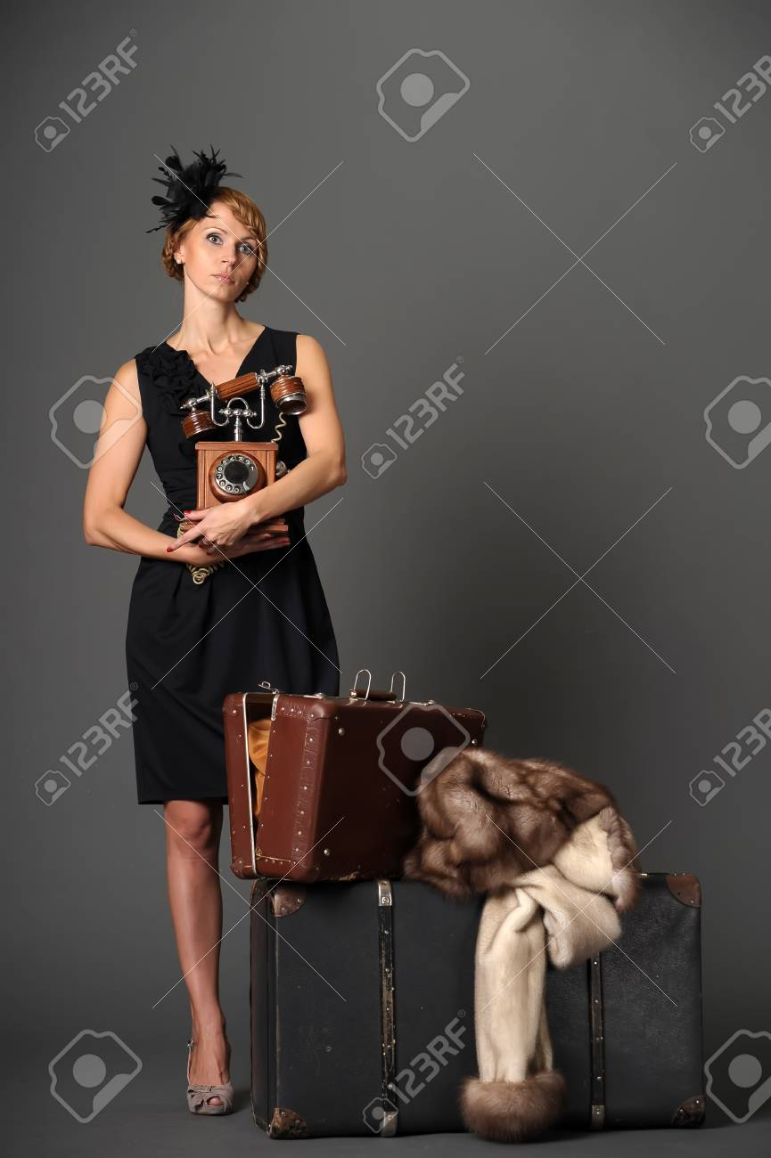 woman with the phone. Retro Stock Photo - 10908835