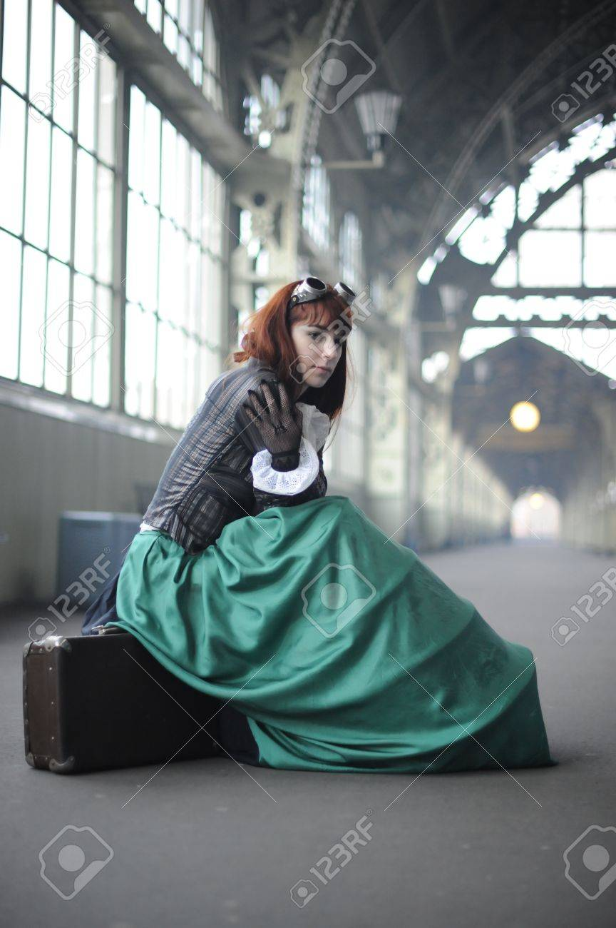 girl at the train station Stock Photo - 11573799