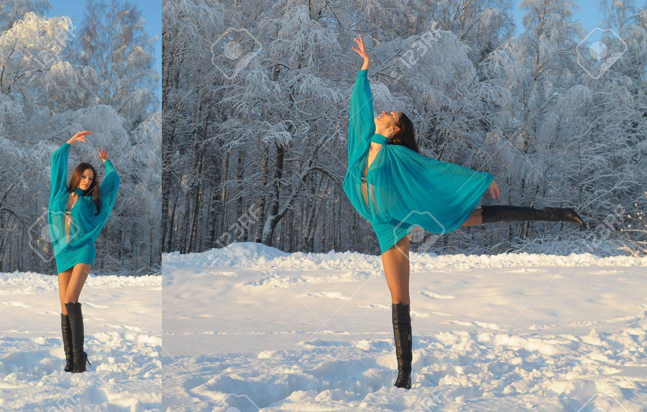 girl dancing in the snow Stock Photo - 10908866
