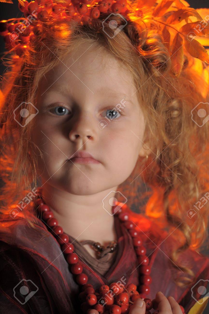 Portrait of the small autumn princess Stock Photo - 13192931