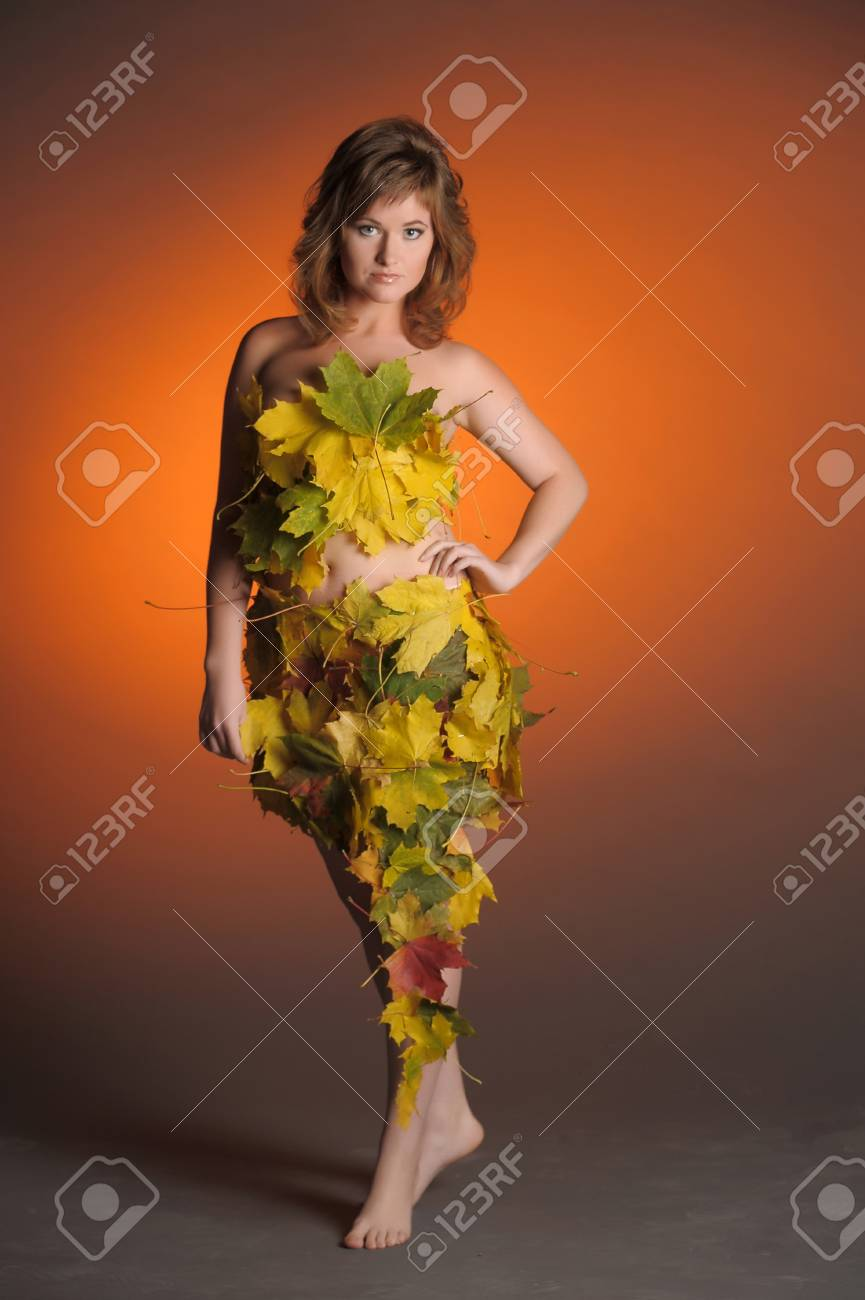 Beautiful woman in lingerie of autumn leaves Stock Photo - 11422783