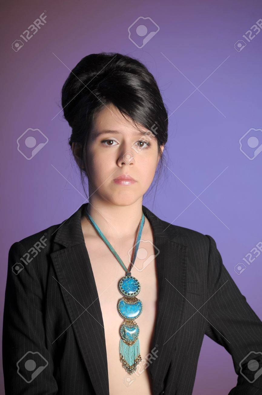 Beautiful Brunette Hair Model with Blue Necklace Stock Photo - 17923189