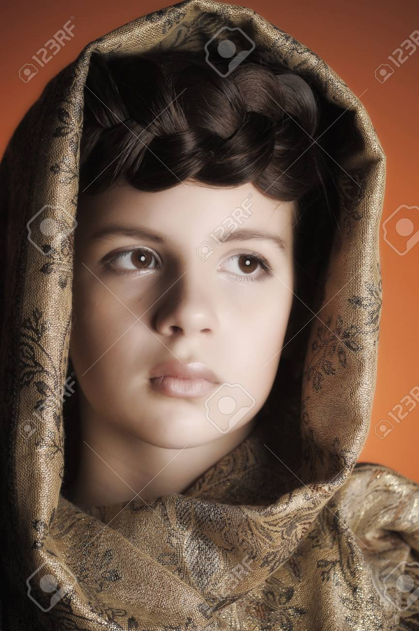 Girl with a scythe in Russian shawl Stock Photo - 13734575