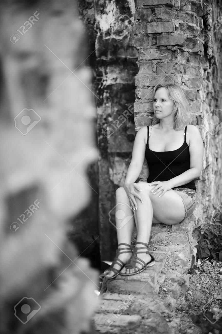 Girl near the ruins Stock Photo - 13326770