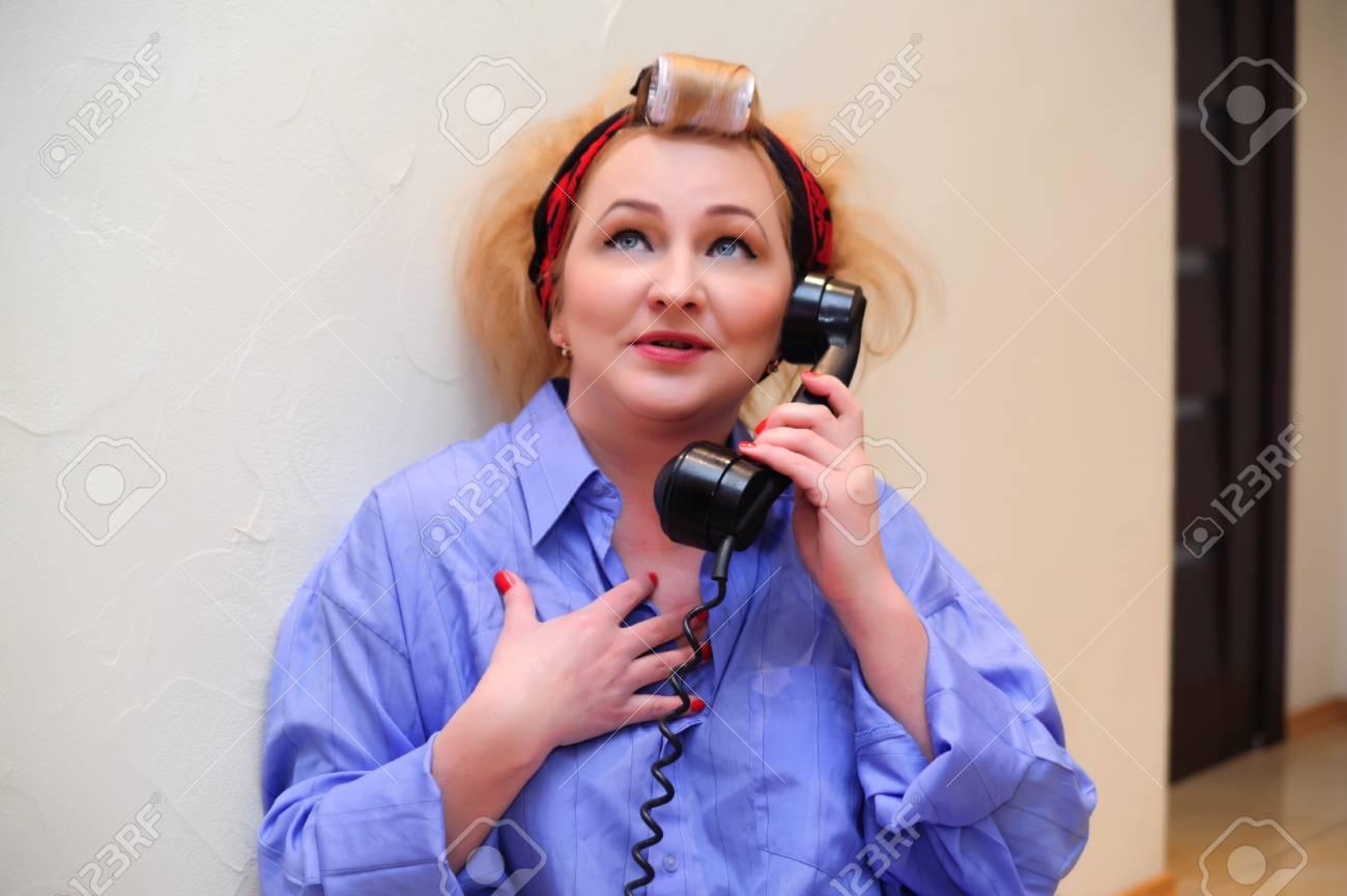 Vintage woman on telephone Stock Photo - 11935428