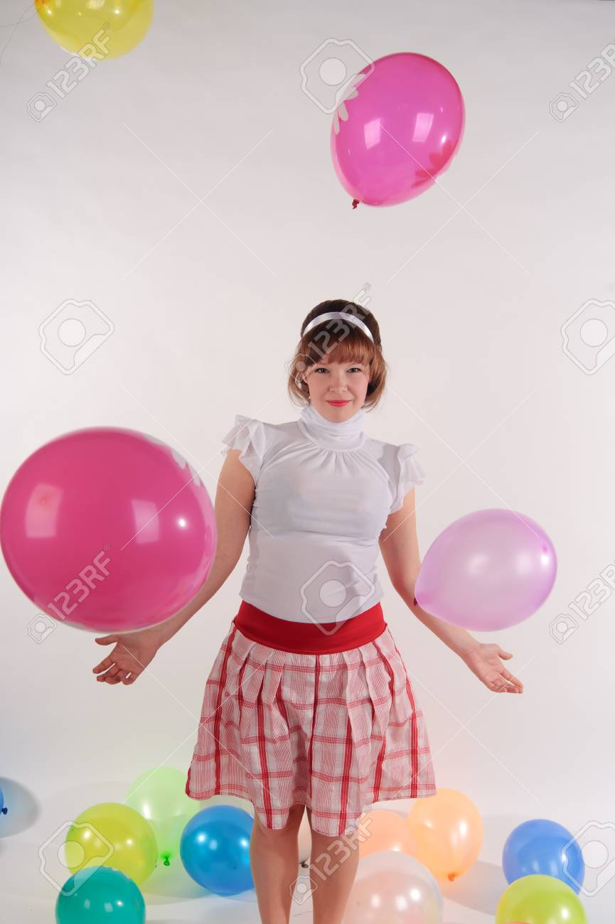 blond pin up girl  With balloons Stock Photo - 11958209