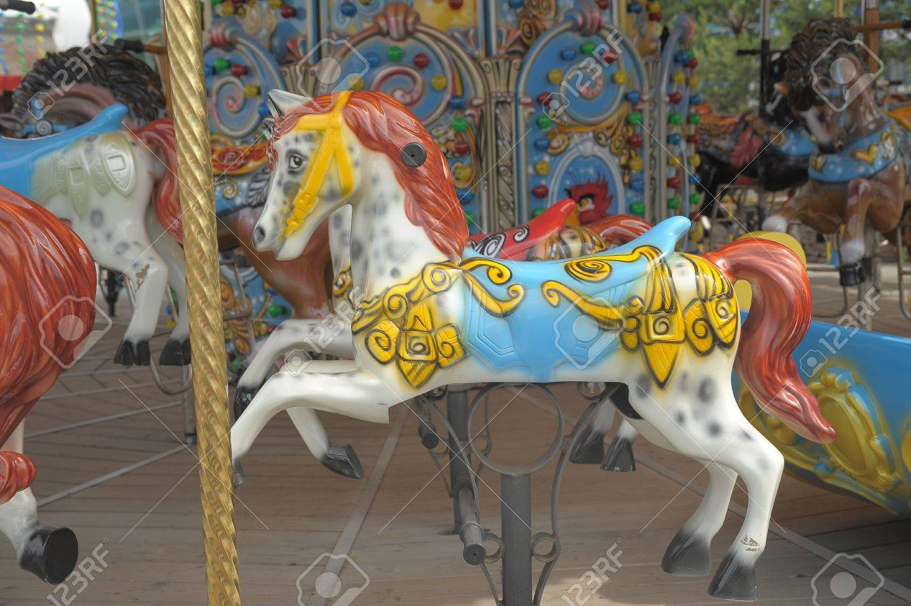 horse on a carousel of child Stock Photo - 11957078