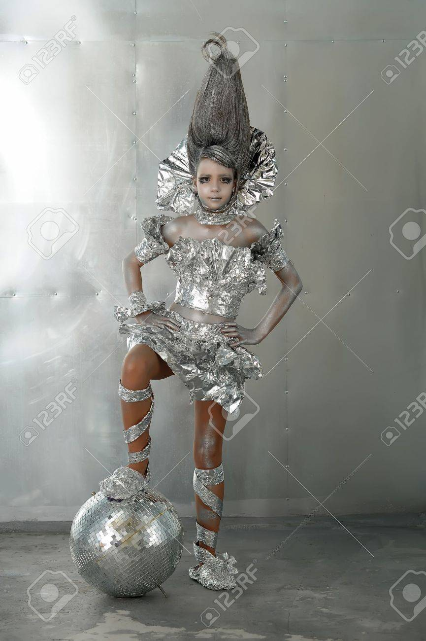 girl in silver and foil Stock Photo - 12018463