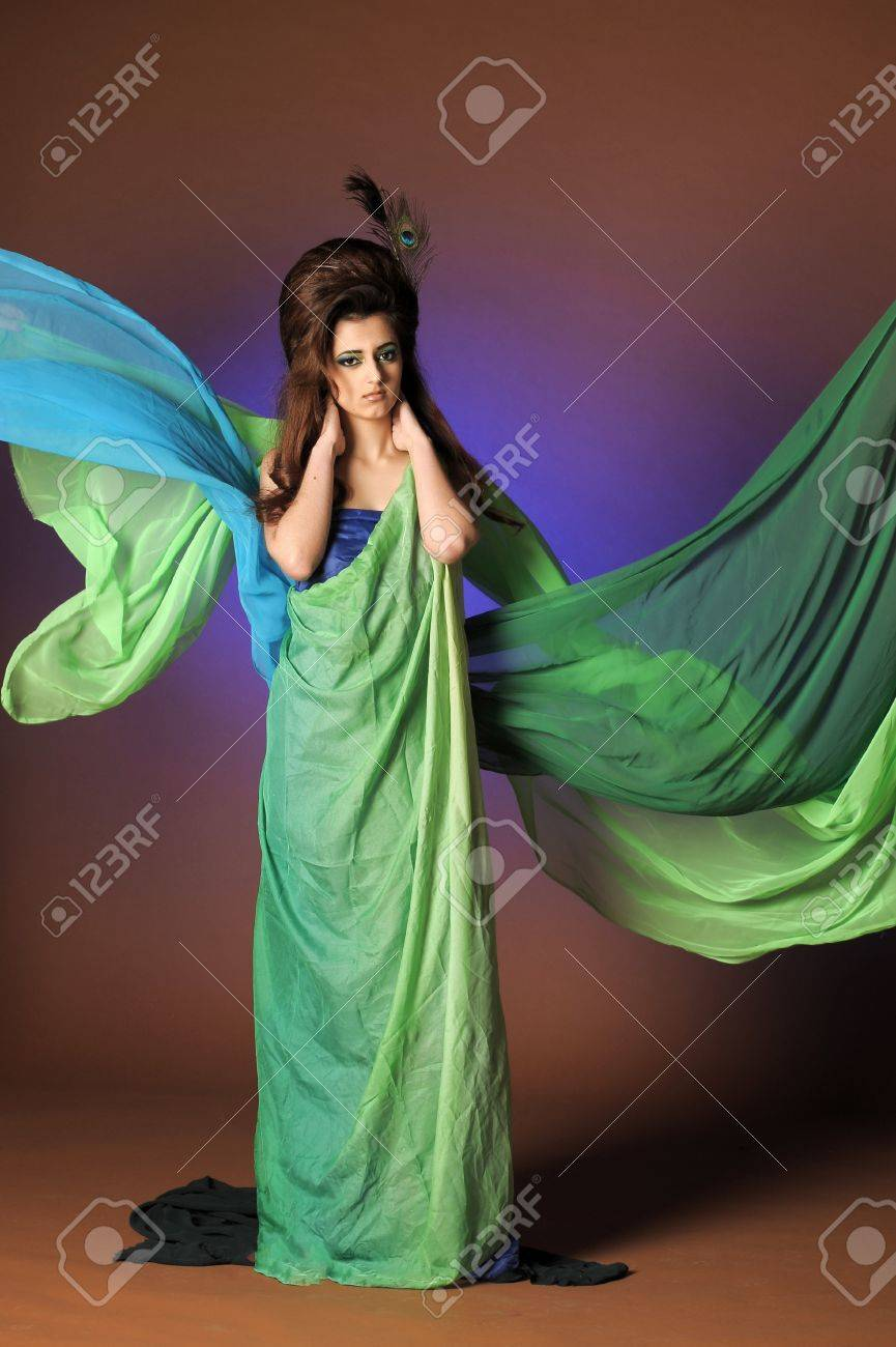 beautiful young woman in elegant and luxury dress with bird peacock feather decoration Stock Photo - 13295178