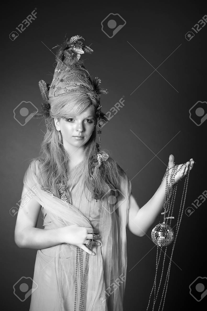 portrait of a girl with a mirror ball in his hands Stock Photo - 14166435