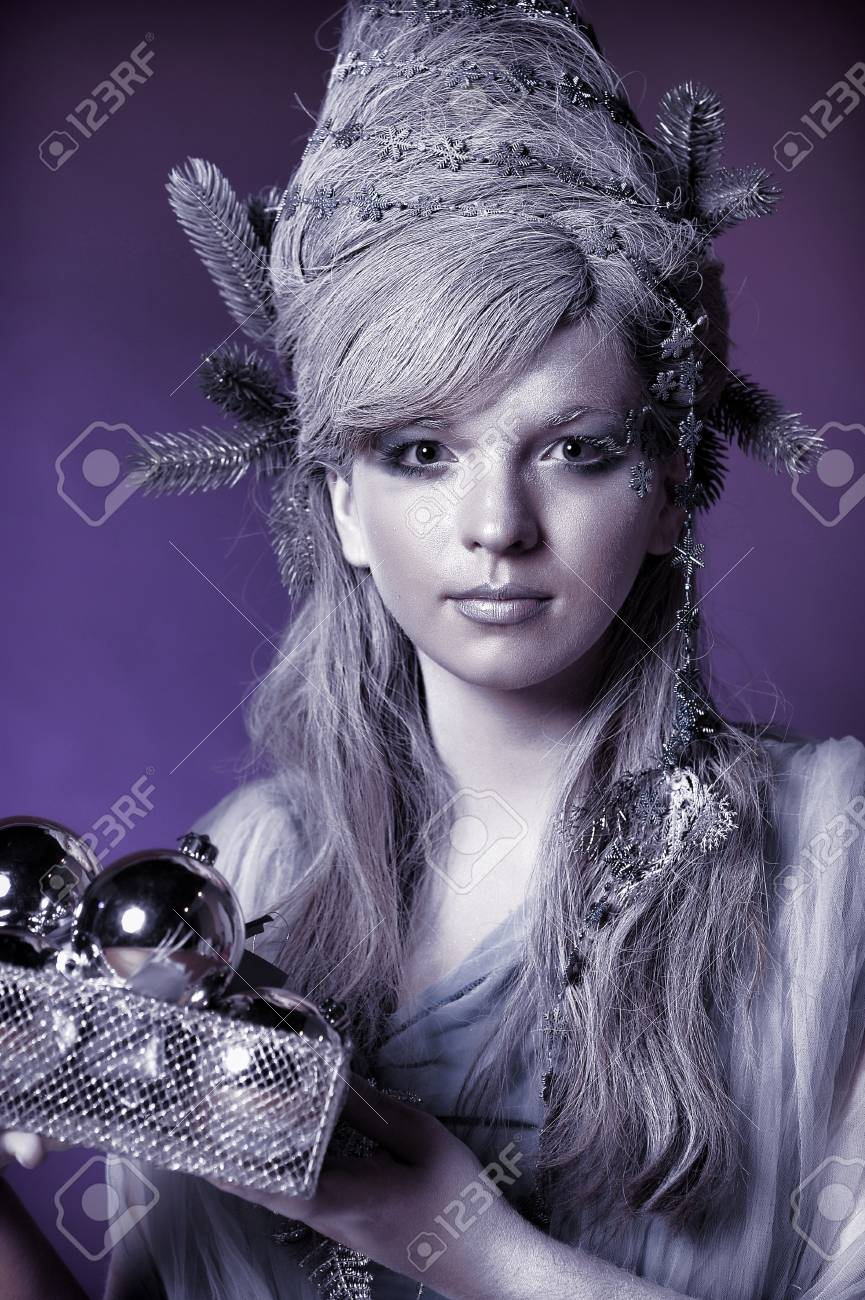 girl with a New Year s balls Stock Photo - 14166102