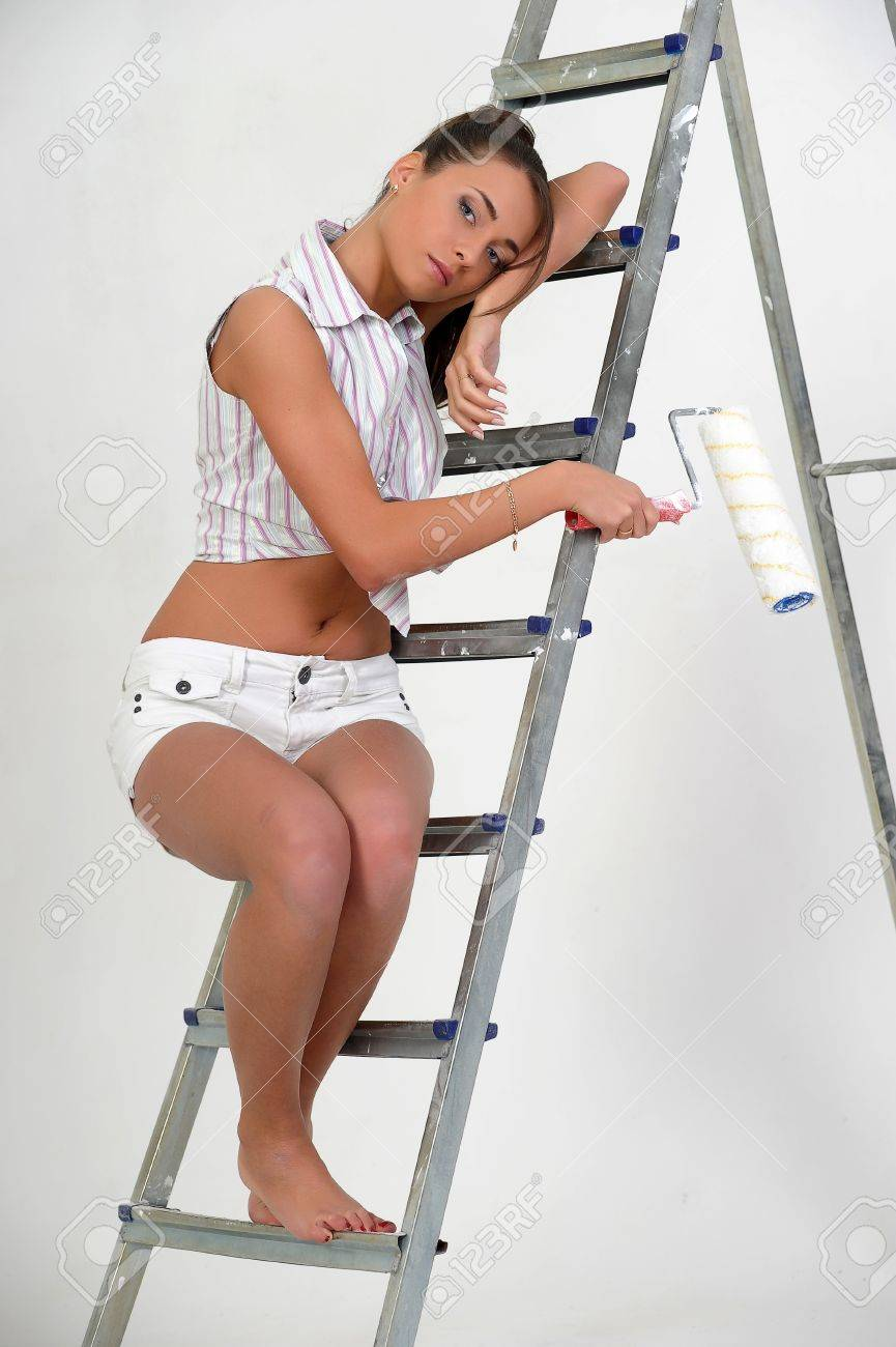 The girl is the house painter Stock Photo - 12676074