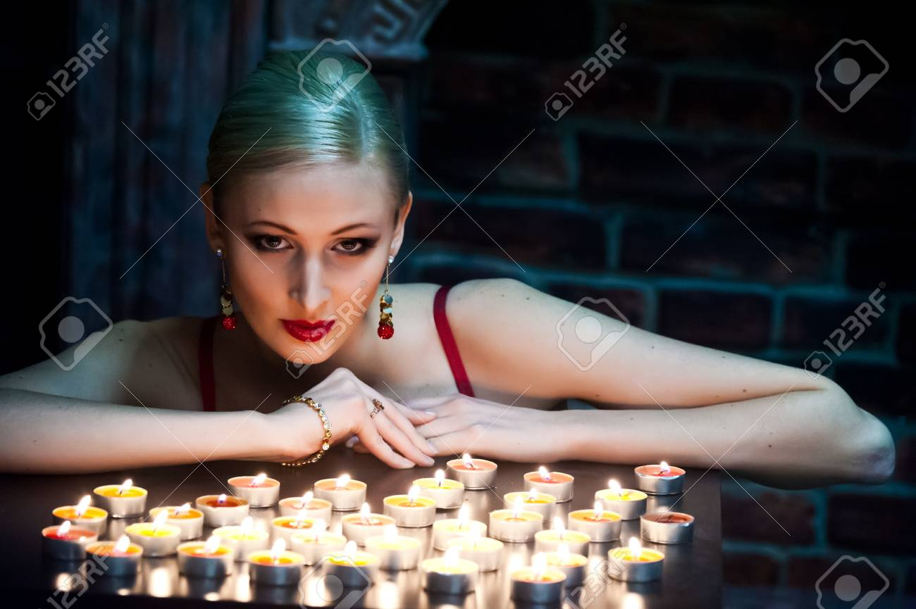 the blonde with candles Stock Photo - 13219054