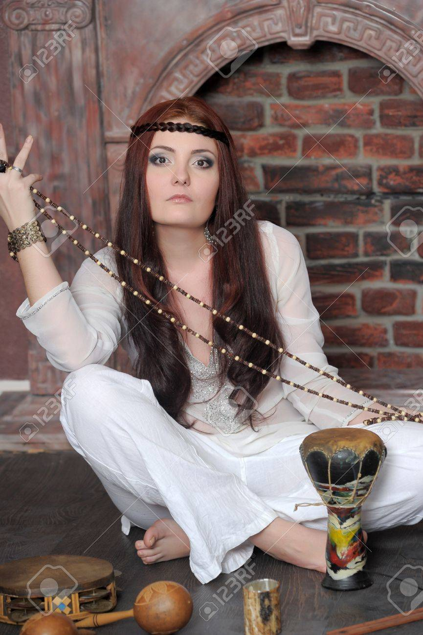 Hippie style portrait of beautiful girl Stock Photo - 13730141