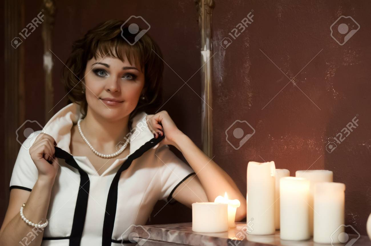 portrait of a girl at night with candles Stock Photo - 15151292