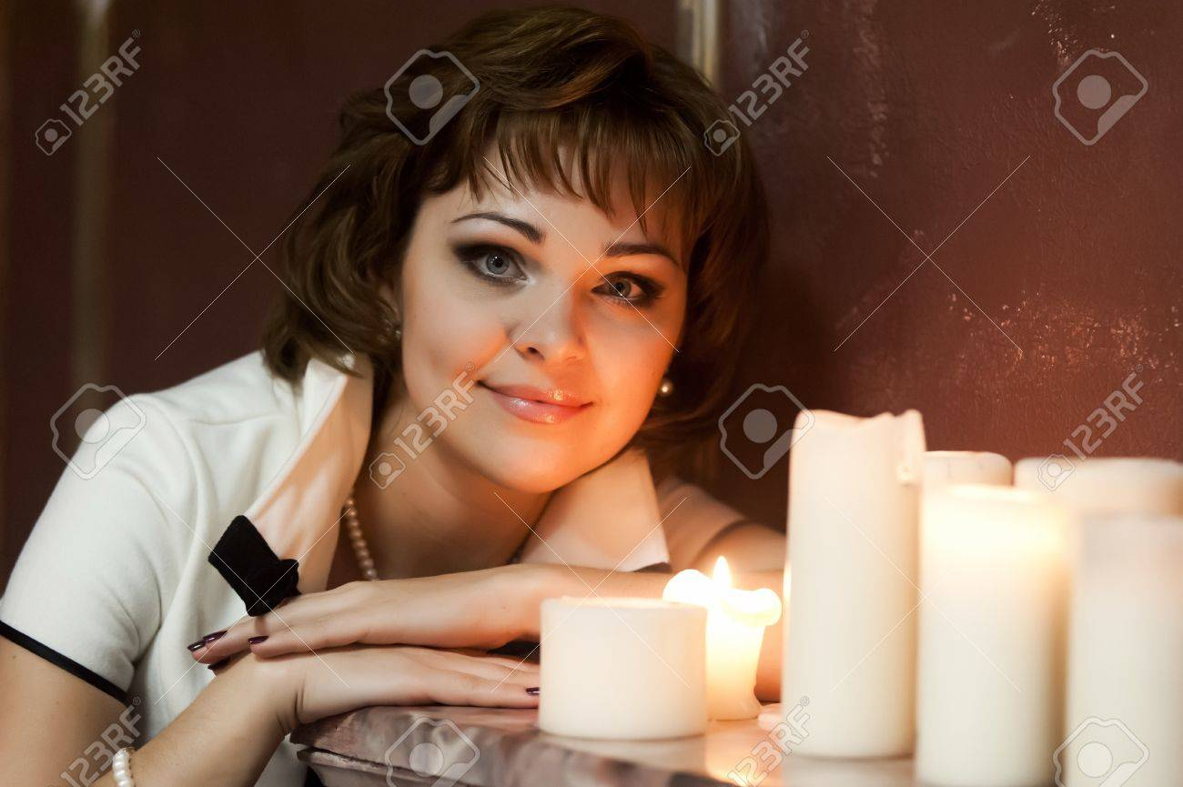 portrait of a girl at night with candles Stock Photo - 15151289