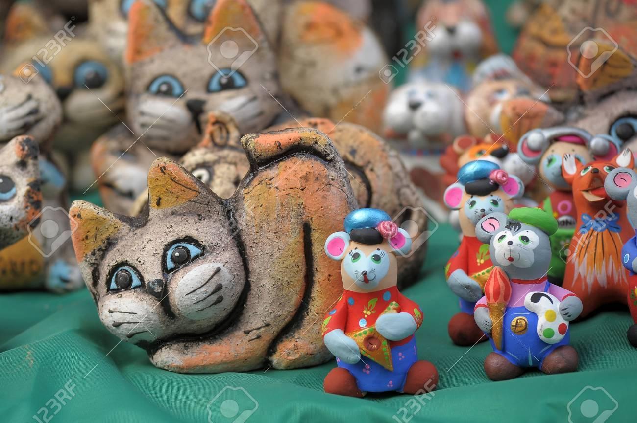 Amusing ceramic figures of cats Stock Photo - 13235302