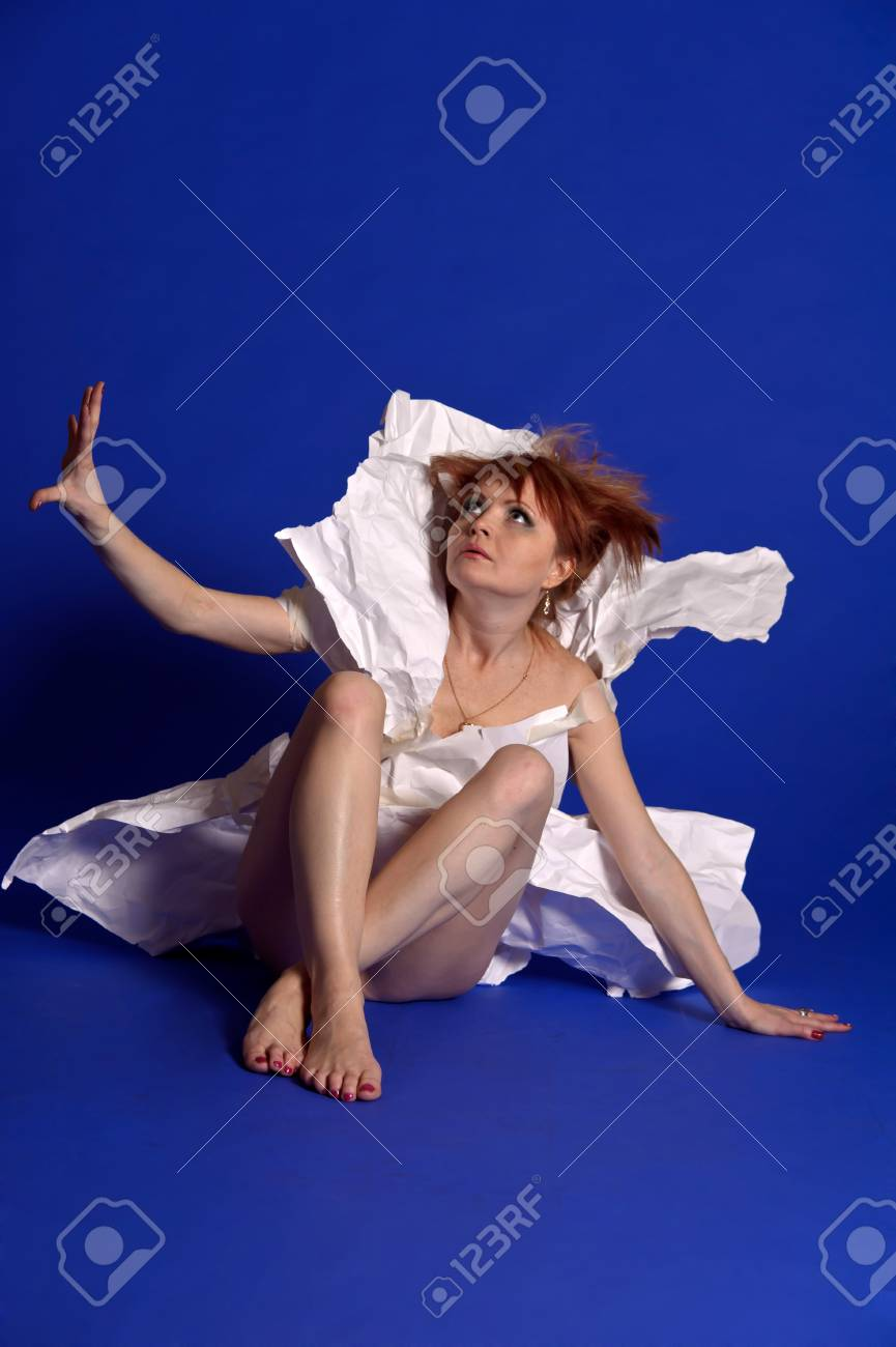 woman in a dress made of paper Stock Photo - 13279978