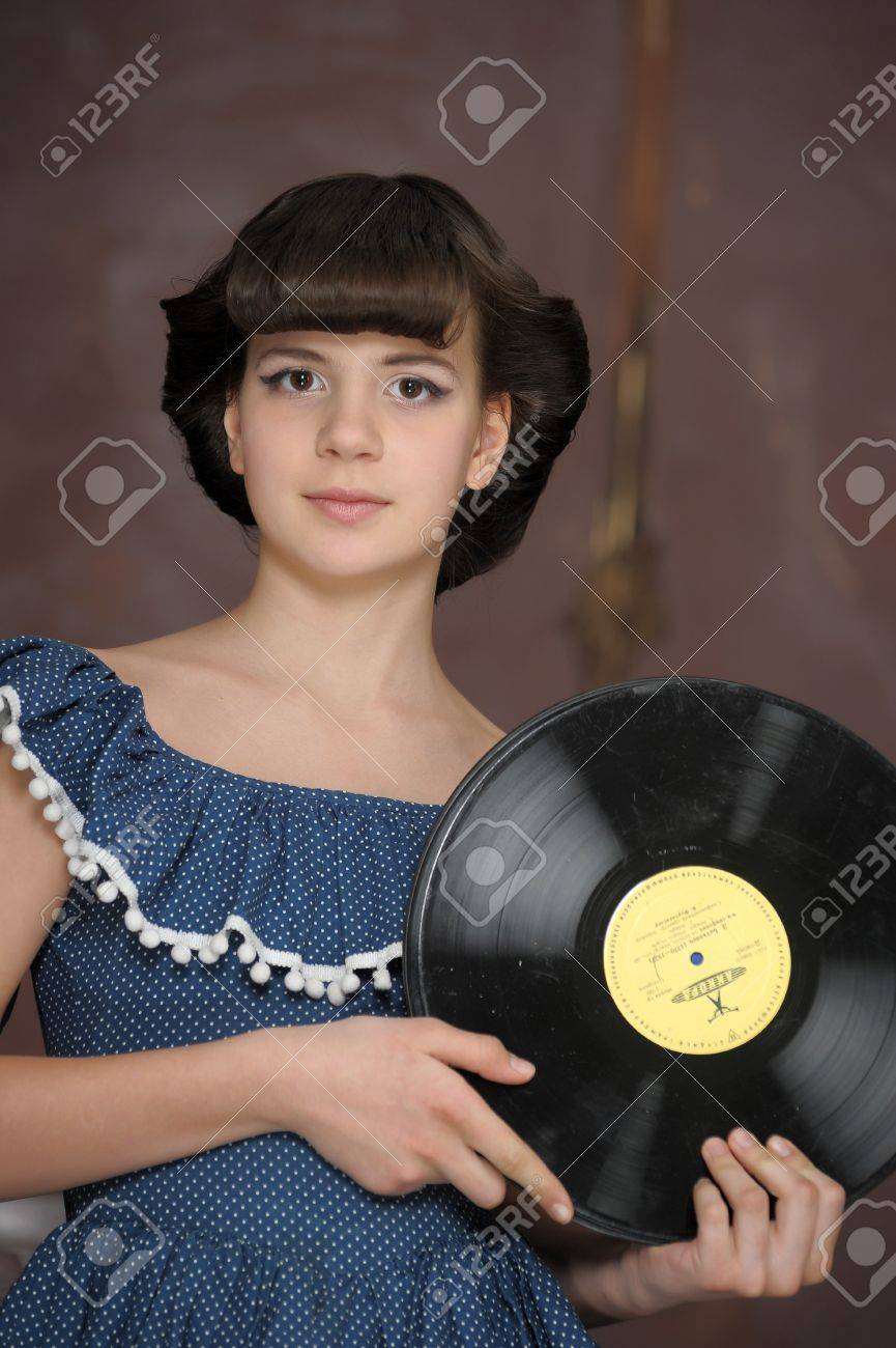 the girl with vinyl records Stock Photo - 13684043