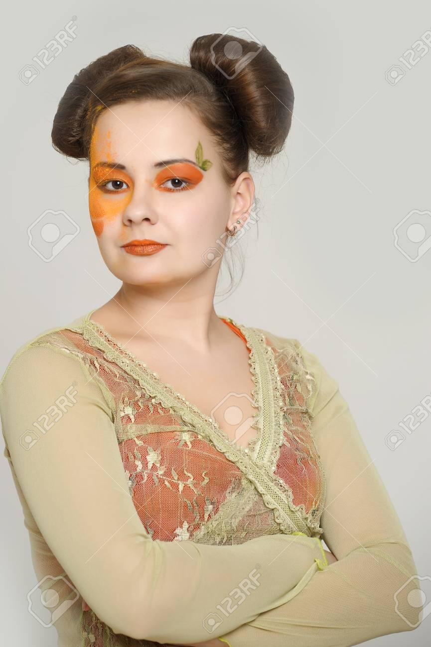 Orange makeup Stock Photo - 13682827