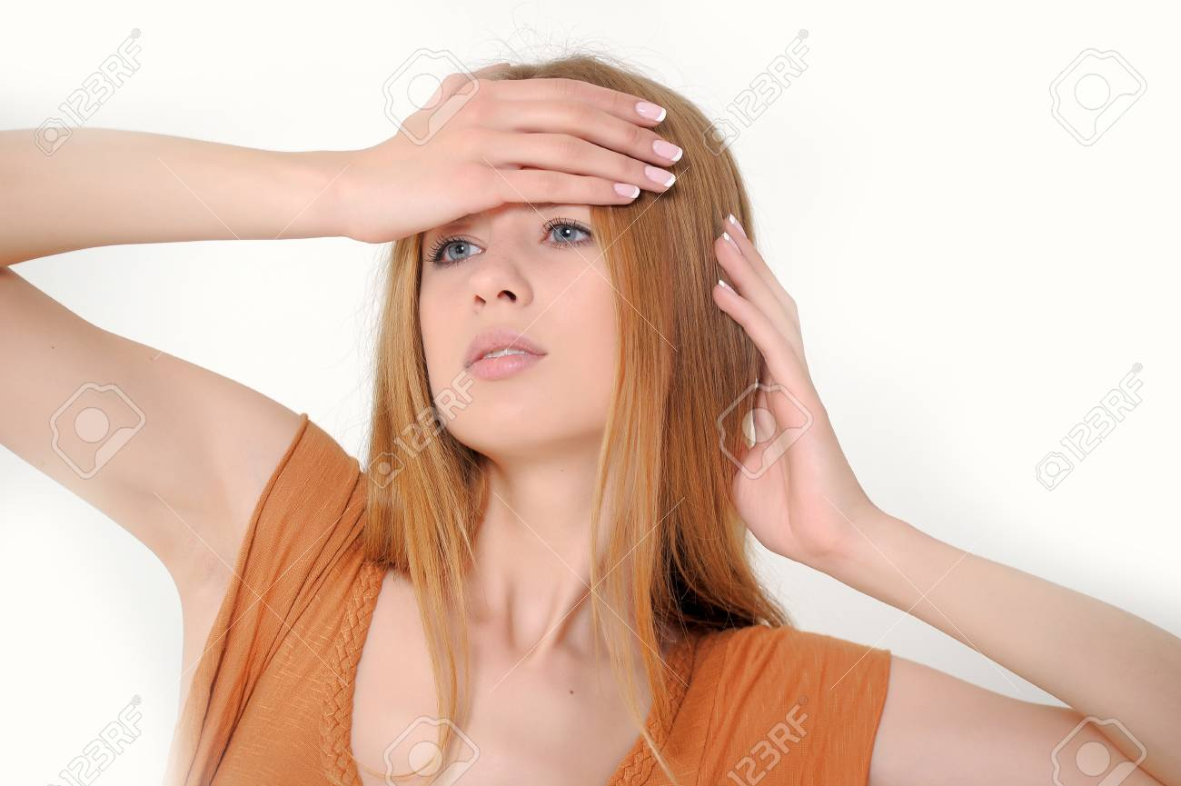 Young beautiful woman with headache and a flu Stock Photo - 13728473