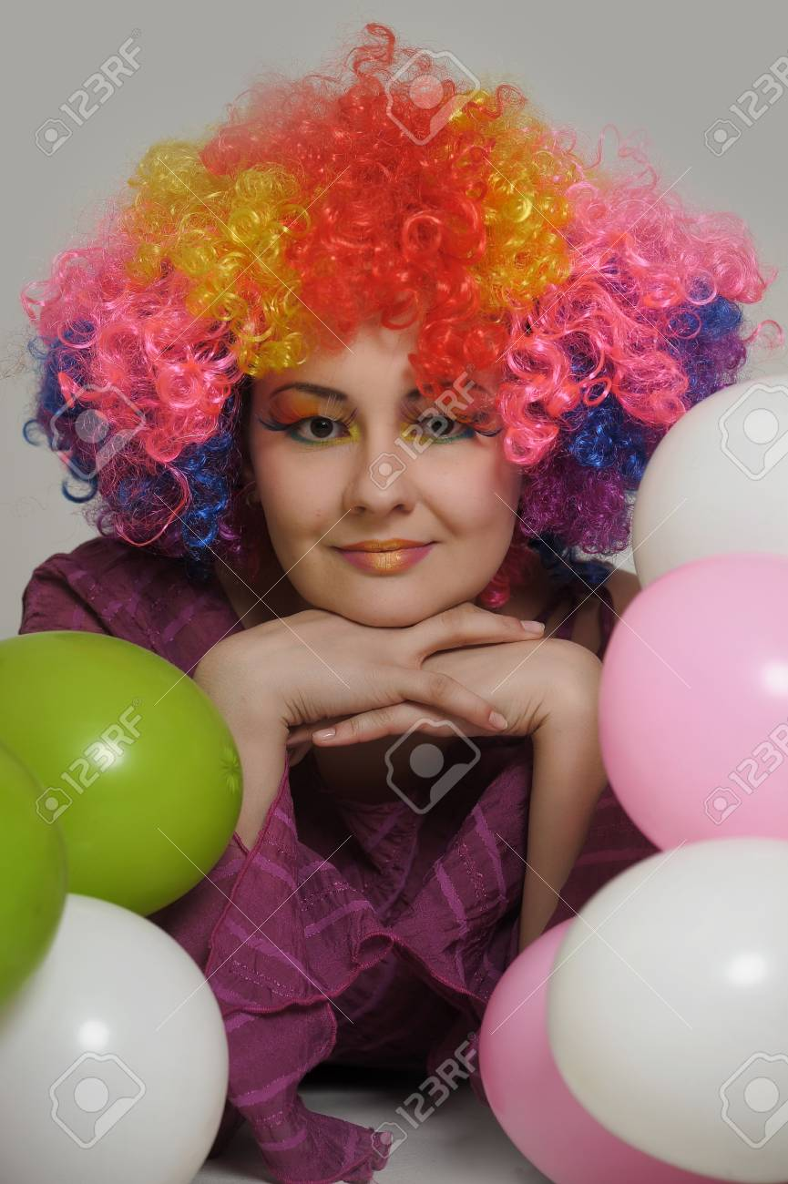 girl clown and balloons Stock Photo - 13683829