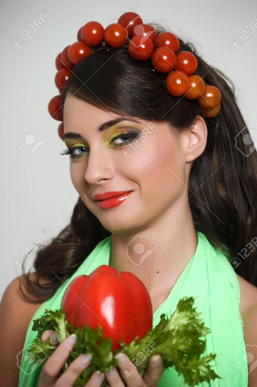 vegetable girl Stock Photo - 13817835