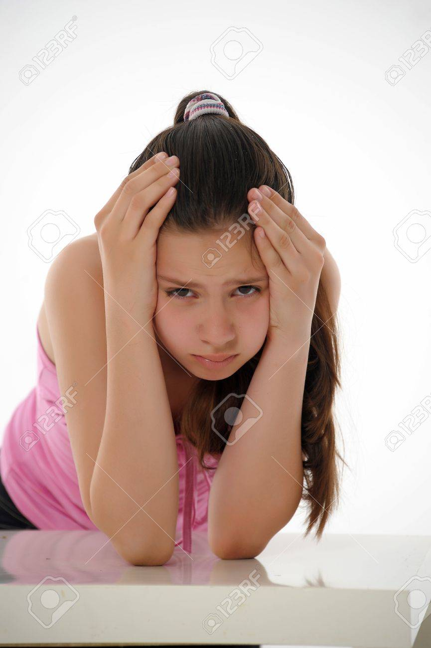 the girl the teenager is upset Stock Photo - 13813318