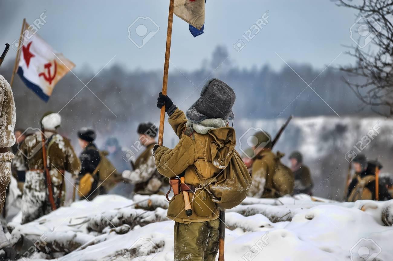Reconstruction of a major military operation of the Leningrad Front - The January Thunder,  lifting of the blockade of Leningrad. Stock Photo - 14138453