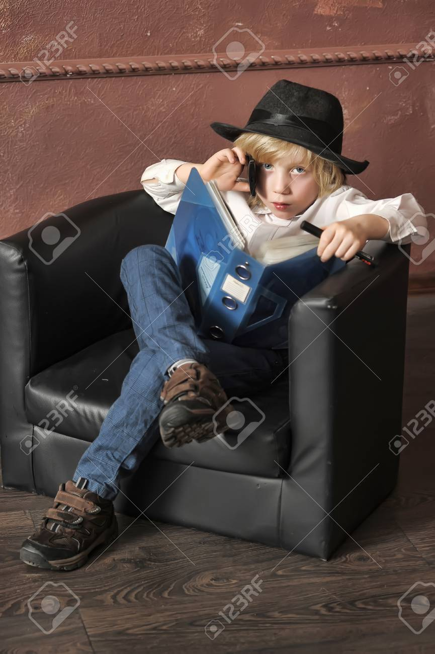 little boy in the role of a businessman Stock Photo - 14954231