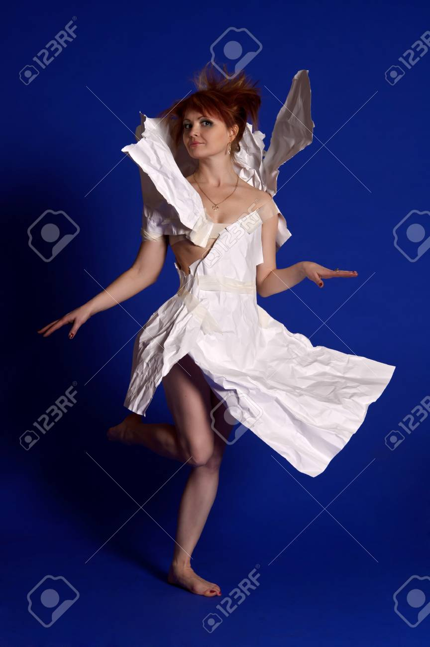 woman in a dress made of paper Stock Photo - 14114087