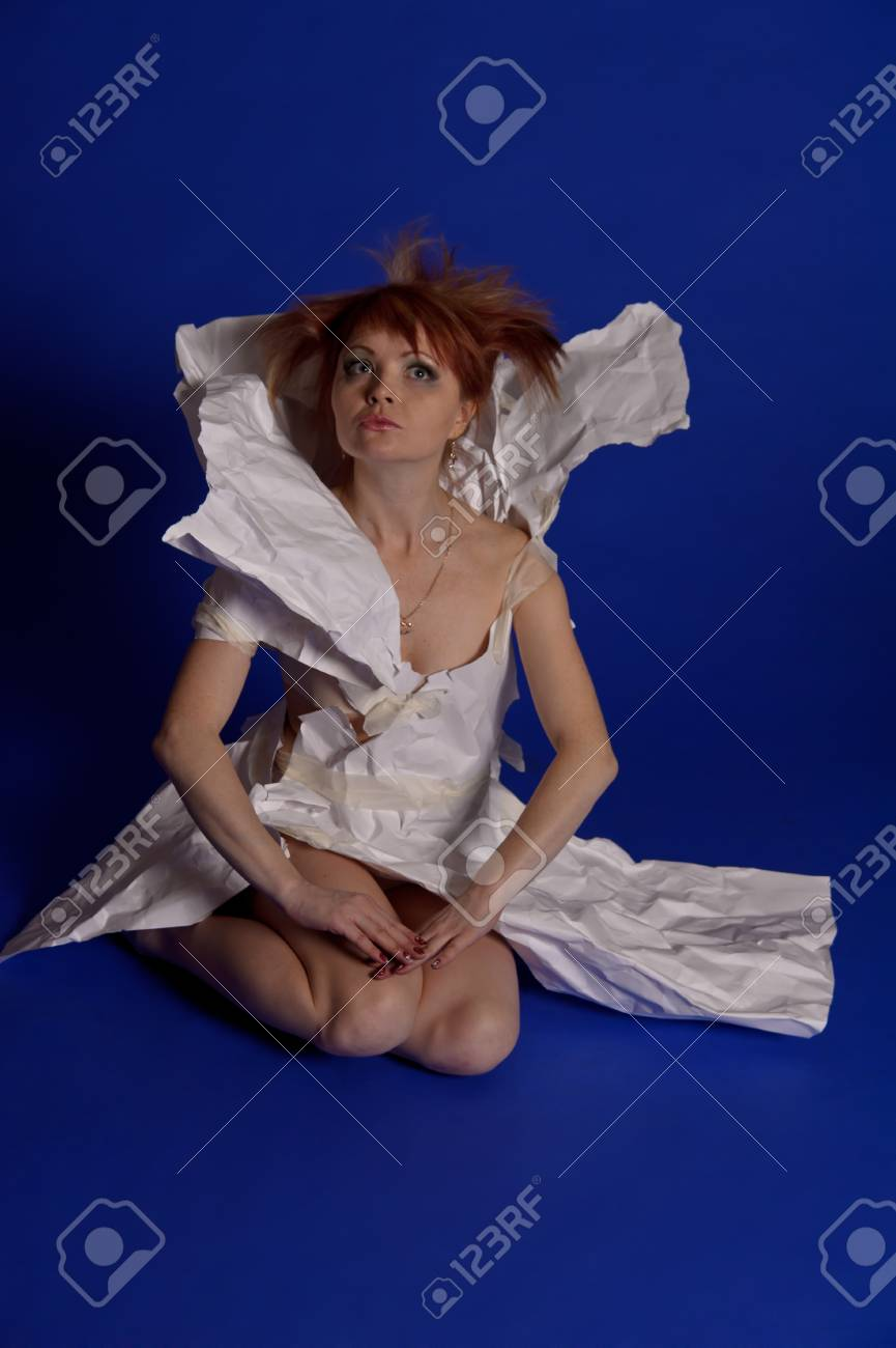 woman in a dress made of paper Stock Photo - 14124089