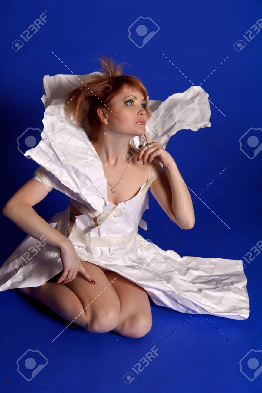 woman in a dress made of paper Stock Photo - 14152179
