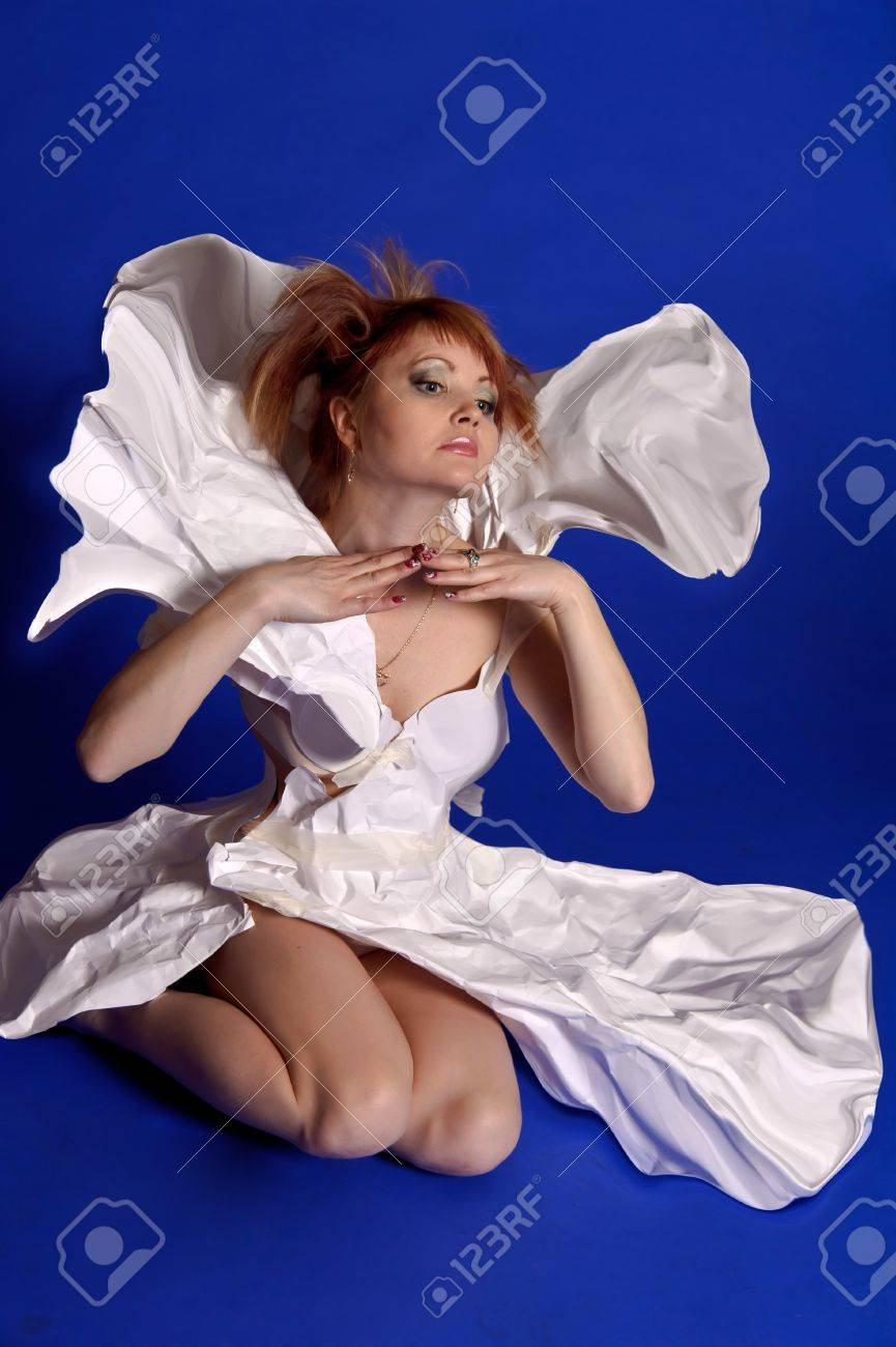 woman in a dress made of paper Stock Photo - 14165619