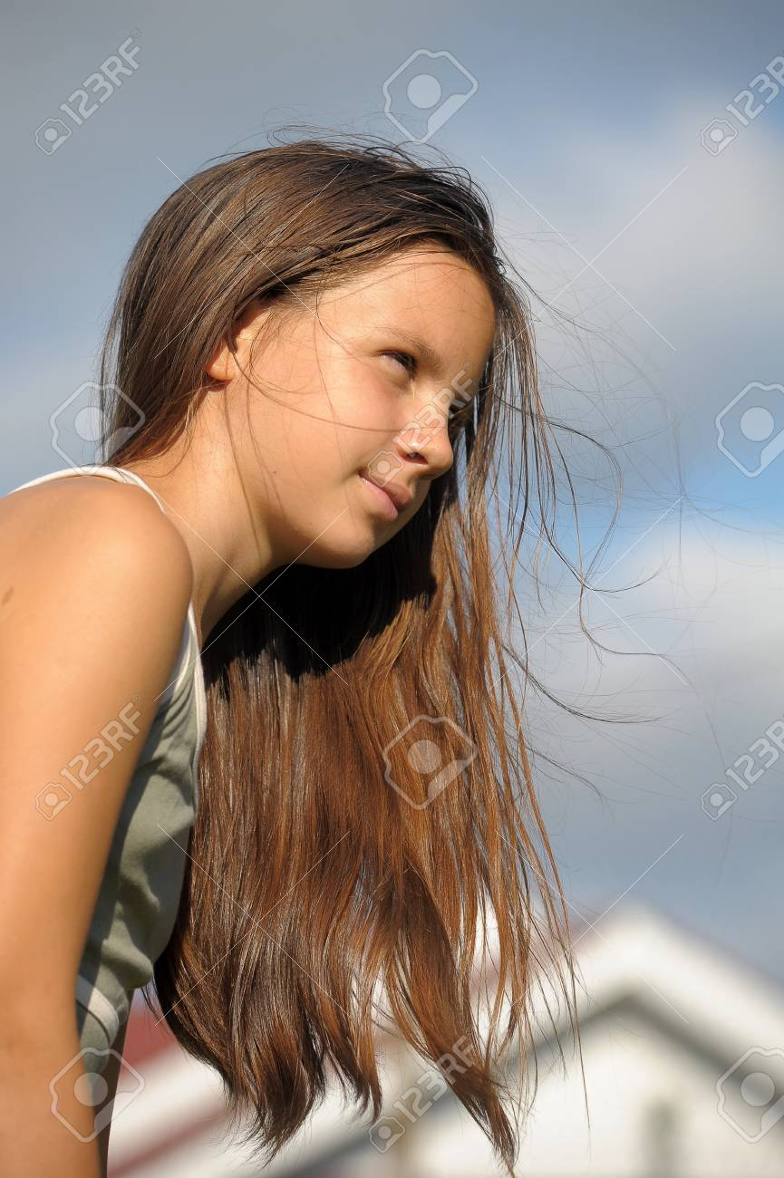 The girl the teenager with long beautiful hair Stock Photo - 14191909
