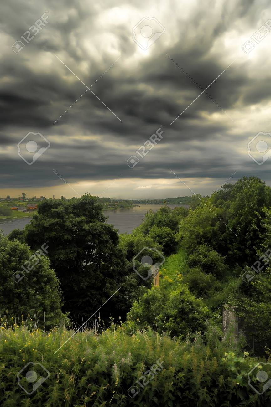 storm clouds over the river Stock Photo - 14402860