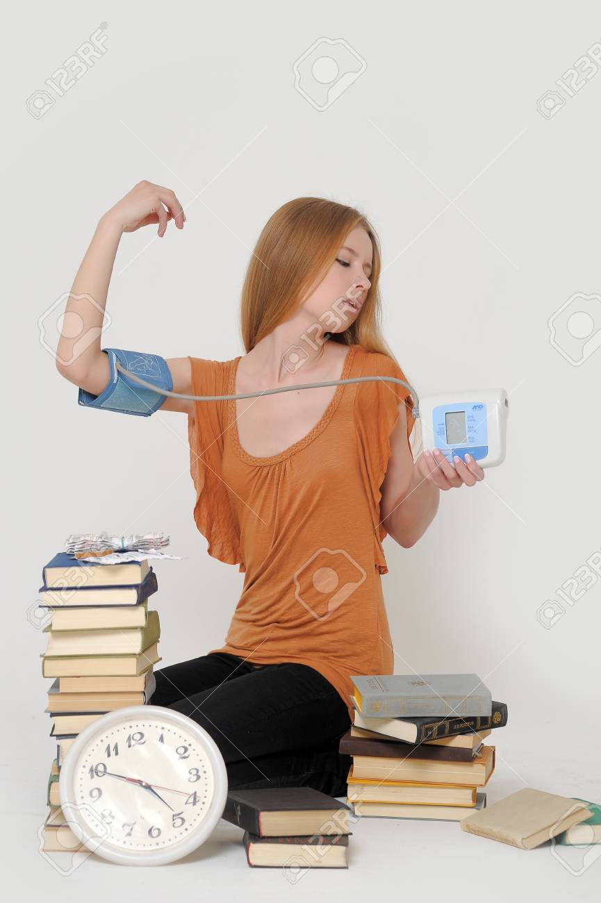 overtired student preparing for exams Stock Photo - 18186673