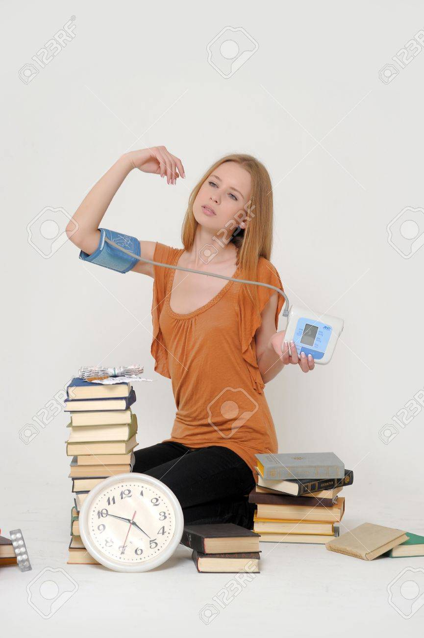 overtired student preparing for exams Stock Photo - 18186677