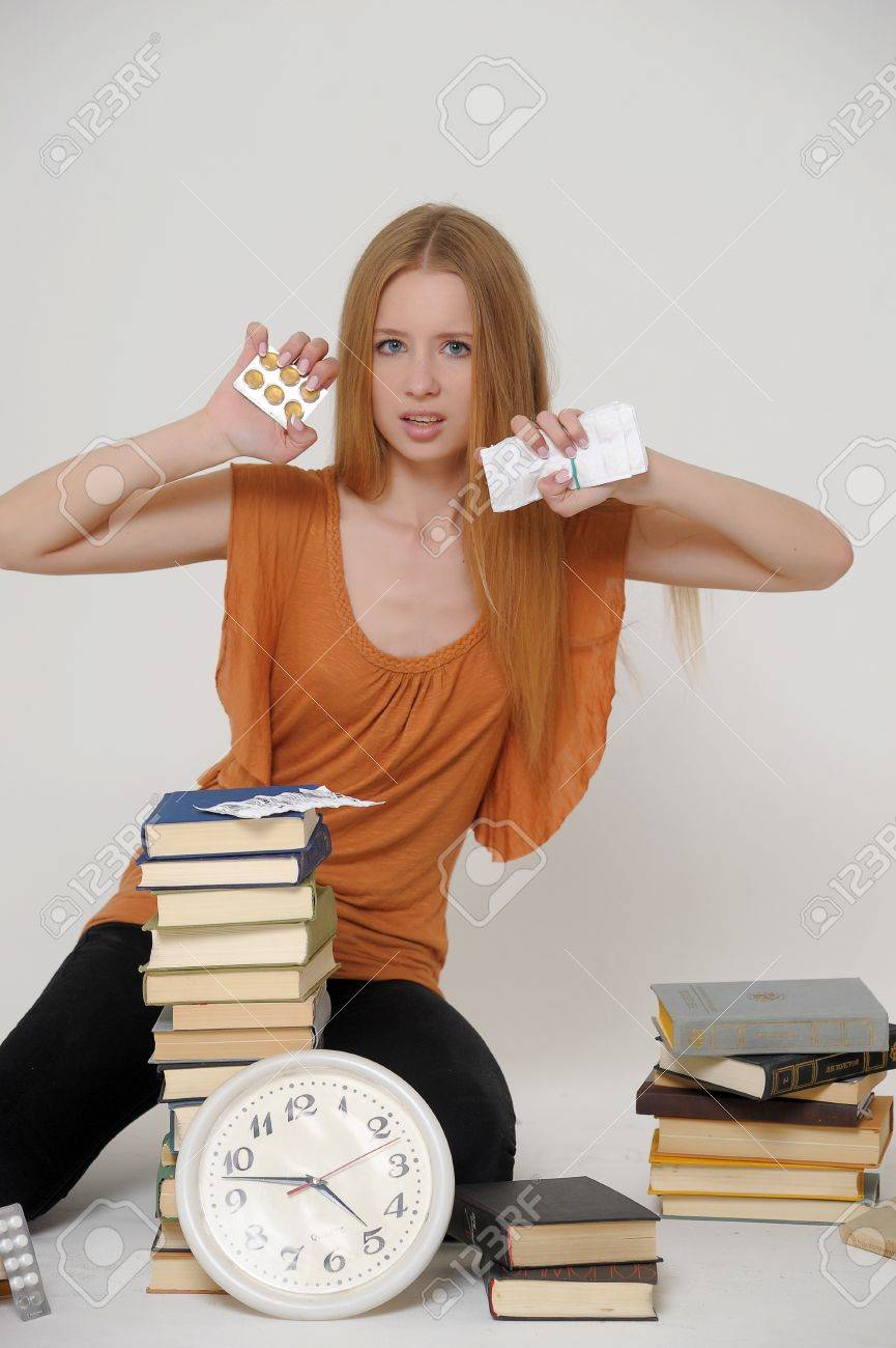 student with books and tablets in stress Stock Photo - 15391999