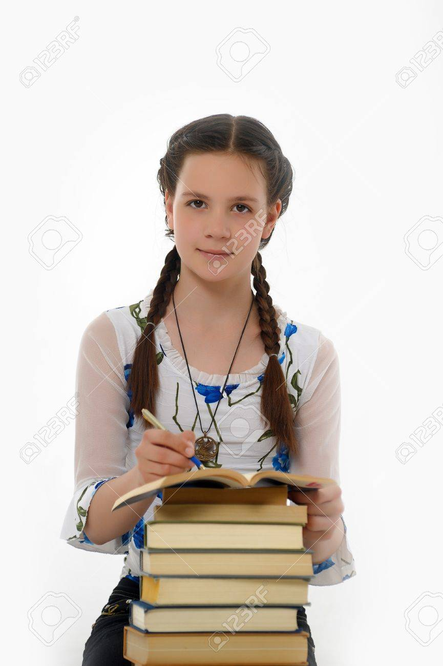 College student girl with books Stock Photo - 14494721