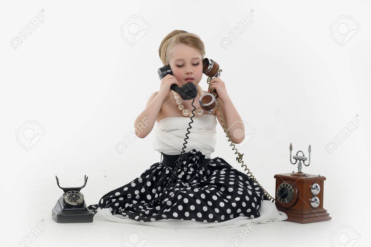 girl talking on retro phone Stock Photo - 15975916