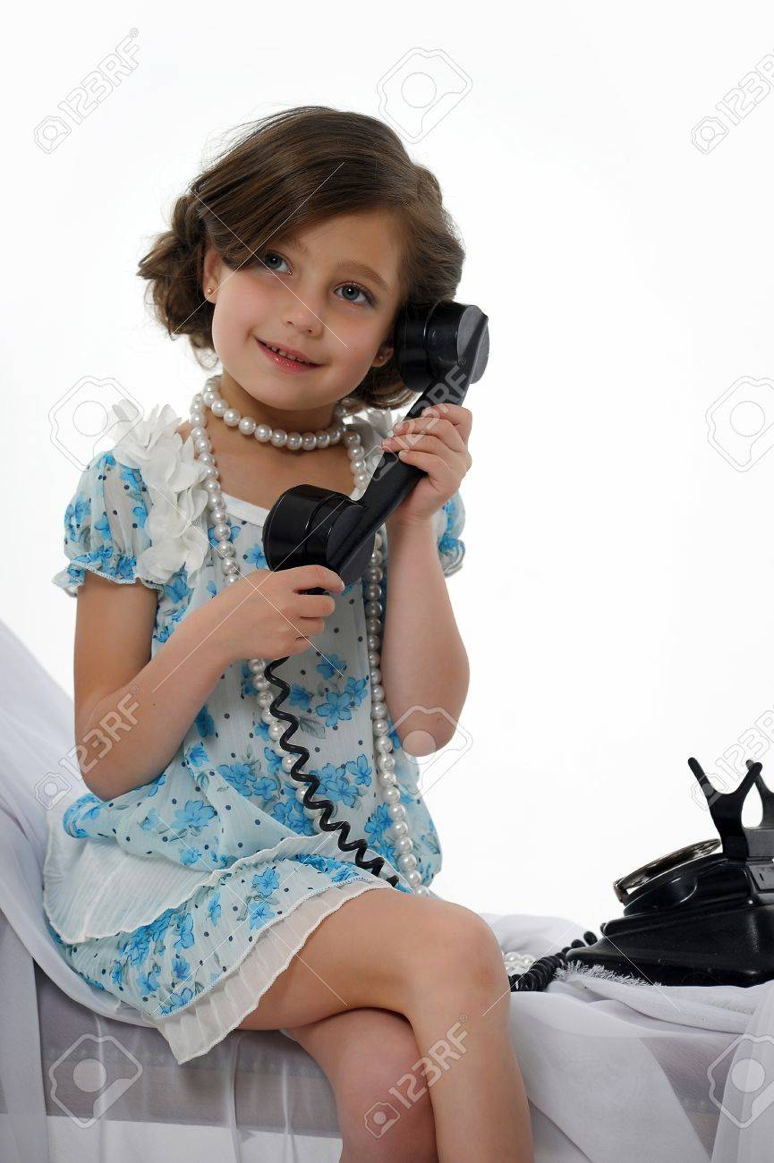 retro photo girls phone conversations Stock Photo - 15662336