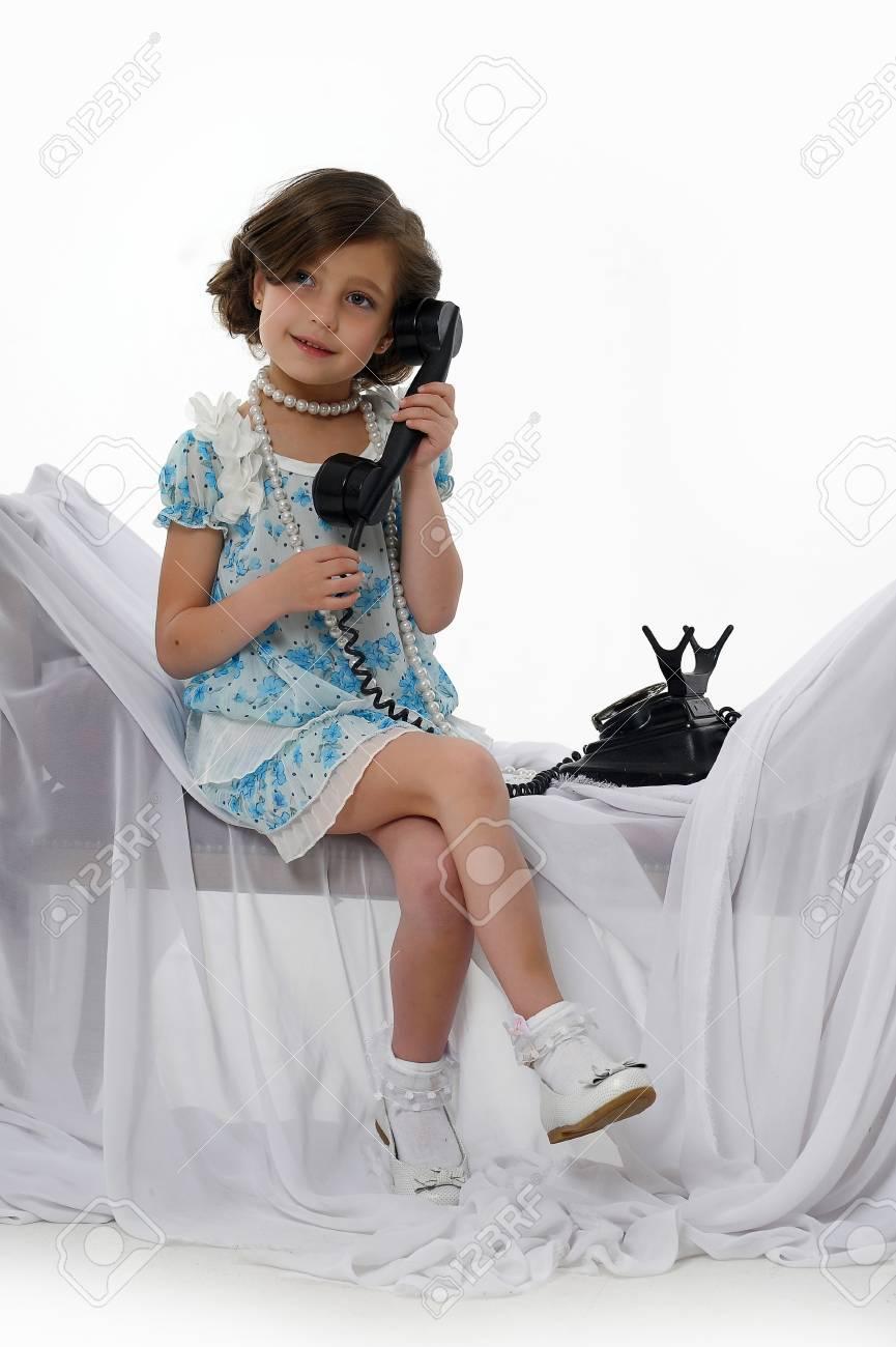 retro photo girls phone conversations Stock Photo - 15662322