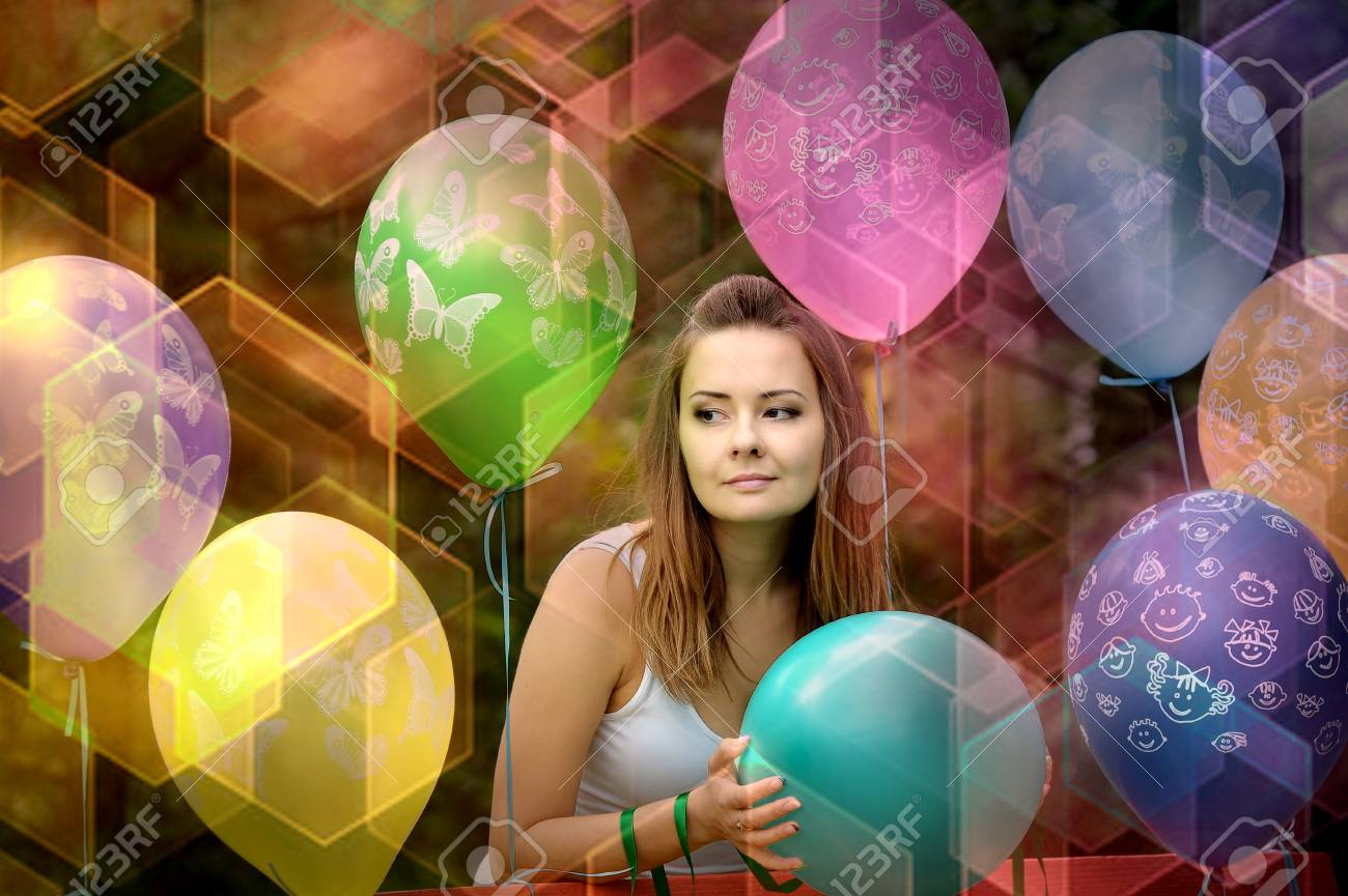 Cute girl among ballons Stock Photo - 15074549